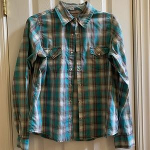 Wrangler Blue Plaid Button Up Flannel